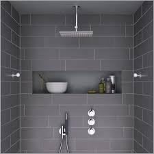 Modern Shower Tile  Charming Light Modern Shower with Dark Grey
