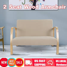 Details About 2 Seat Accent Chair For Living Room, Upholstered Linen Arm  Chairs Wood Legs NEW