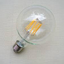 dimmable led filament e27 g80 4w 6w 8w 10w globe bulb clear glass