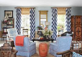 Navy Geometric Pattern Curtains by Navy Chevron Curtains For Living Room With White Blue Colors And