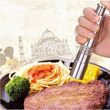 Stainless Steel Portable Thumb Push Salt Pepper Grinder Spice Sauce Mill Grind Stick Kitchen Tool Cooking