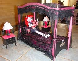 monster high custom canopy bed set for operetta drop dead dolls