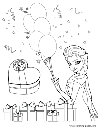 Elsa Holding Balloons Colouring Page Coloring Pages Printable