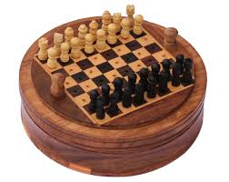 Bulk Wholesale 5 Round Wooden Mini Travel Chess Set Board Game Classic Compact