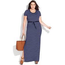 michael kors plus size short sleeve striped maxi dress in blue lyst