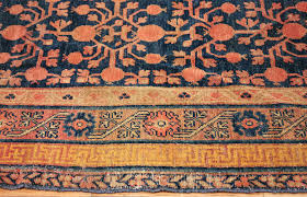 Antique Navy Background Pomegranate Design Khotan Rug 49483 Border Nazmiyal