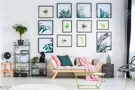 zwei kissen und rosa decke auf der stehend in weiß wohnzimmer interieur mit pflanzen und bücher über schwarze metall regale einfache plakate