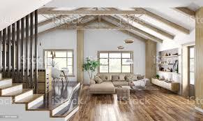moderne inneneinrichtung haus küche wohnzimmer mit sofa treppe 3d rendering stockfoto und mehr bilder architektur