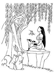 Pocahontas Flit Meeko And Mother Willow Coloring Page