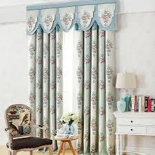 european light green floral jacquard blackout living room curtains
