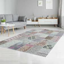 teppich aus baumwolle flachflor patchwork vintage pastell rosa wohnzimmer