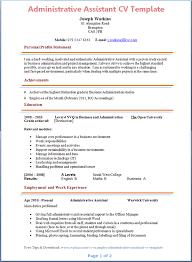Cv For Admin Administrative Assistant