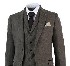 Mens 3 Piece Wool Blend Herringbone Tweed Suit