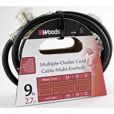 Woods 9 Ft. 14/3 STW Tri-Source (Multi-Outlet) Outdoor Medium-Duty ...