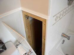 For behind the dryer Beadboard panel hides the bathroom plumbing