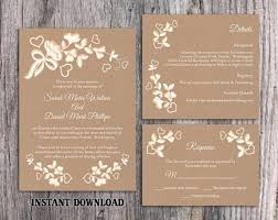DIY Lace Wedding Invitation Template Set Editable Word File Download Printable Rustic Burlap Vintage Floral 2470819
