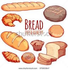 Set Of Different Bakery Bread Loaf Bun Muffin Croissant Bagel