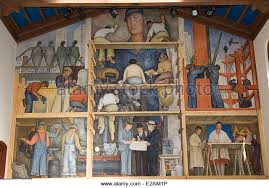 diego rivera mural at the san francisco institute stock photos