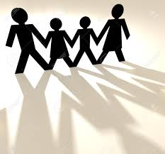 Four People Family Group Holding Hands As Paper Cut Out Stock Photo