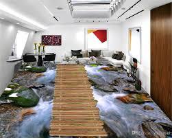 großhandel benutzerdefinierte 3d pvc boden tapete schöner stein fließen holz promenade wohnzimmer schlafzimmer 3 etage dekoration wallpaper
