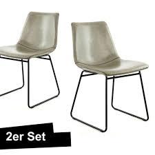 retro stuhl grau taupe esszimmerstuhl wohnzimmer leder optik industrial