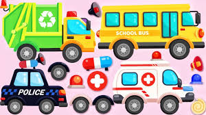 Cars & Trucks For Kids | Police Car, Ambulance, Garbage Truck For ...