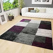 vimoda teppich schwarz lila grau marmor stein optik kariert maße 200x290 cm