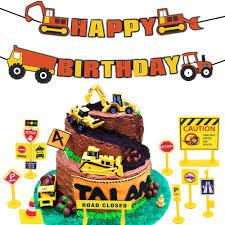 99 Truck Birthday Party Amazoncom 16 PCS JeVenis Construction Cake