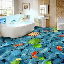 pvc selbst klebstoff wasserdicht 3d boden fliesen wand papier aufkleber lotus teich pebble wandmalereien bad bodenbelag tapeten wohnkultur