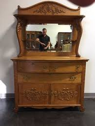antique oak dresser with mirror and hat box 1116 a victorian