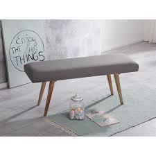 wohnling sitzbank salim stoff massivholz bank grau 117x51x38 cm im retro stil 2er polsterbank flur gepolsterte stoffbank esszimmer braun