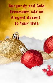 Burgundy And Gold Christmas Tree Ornaments