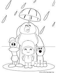 Pocoyo And His Friends In The Rain Coloring Page