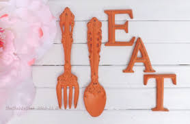 Wooden Fork And Spoon Wall Decor by Kitchen Wall Decor Coral Fork And Spoon Decor Eat Sign