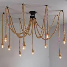vintage hemp rope chandelier antique classic adjustable diy spider