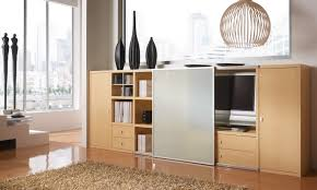 sideboard büchersideboard ahorn mit tv fach und schiebetür glas satiniert
