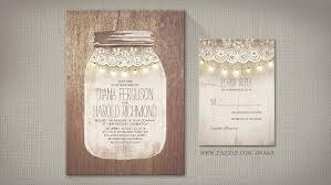 Rustic Mason Jar Lace Wood And String Of Lights Wedding Invitation