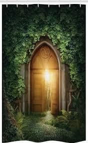 abakuhaus duschvorhang badezimmer deko set aus stoff mit haken breite 120 cm höhe 180 cm grün mystic sun beams kaufen otto