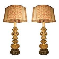 Antique And Vintage Pair Candlestick Lamps With Orange Fabric