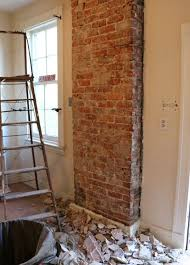 Farmhouse Kitchens How To Expose Brick Chimney