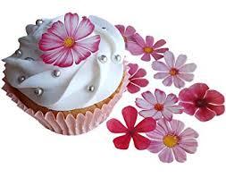 PRE Cut Beautiful Pink Flowers Edible Rice Wafer Paper Cupcake Cake