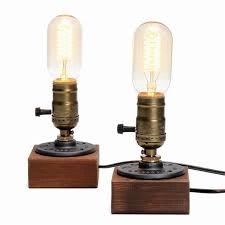 loft vintage e27 holder edison bulb table l wood base light