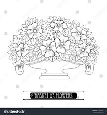 Vector Basket With Stylized Bouquet Of Flower In Art Nouveau Or Modern Style Black Isolated