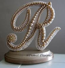 Vintage Pearl Wedding Cake Topper Monogram Letter R In Champagne Lace And Pearls For Country