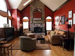 Attractive Stone Fireplace Wall Panel With Red Rustic Living Room Painted Color Schemes As Well Brown Sofa Ideas