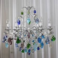 murano glass chandelier with blue green and fruits for