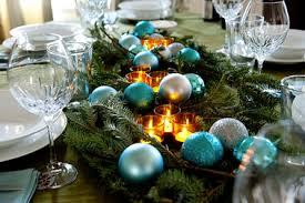 déco table de noël bleu turquoise et vert