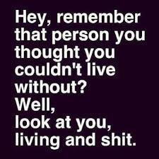 Hey Remember That Person You Thought Couldnt Live Without Well Look At Living And Shit