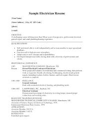 Examples Of Electrician Resumes Resume Journeyman Plumber Commercial Objective Bricklayer