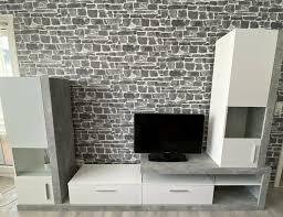 zurbrüggen wohnwand beton optik grau edel modern wohnzimmer tv